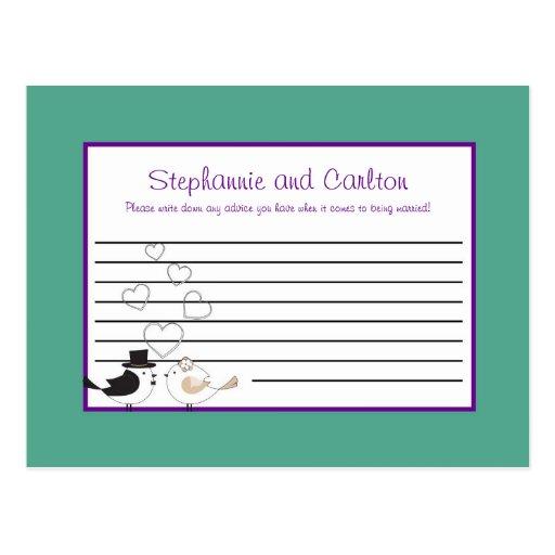 Love Birds Teal/Purple Wedding Advice Card Postcard