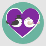 Love Birds Teal/Purple Wedding Envelope Seal Round Sticker