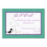 "Love Birds Teal/Purple Wedding RSVP Card 3.5"" X 5"" Invitation Card"