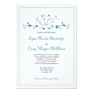 Love Birds - Teal - Wedding Invitation