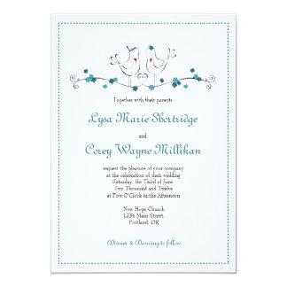 Love Birds - Teal - Wedding Invitation
