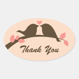 Love Birds Thank You Oval Sticker