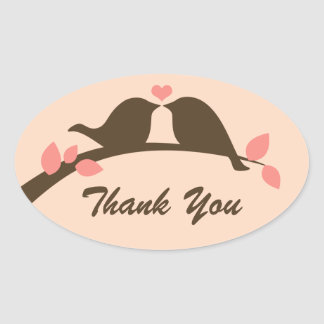 Love Birds Thank You Stickers