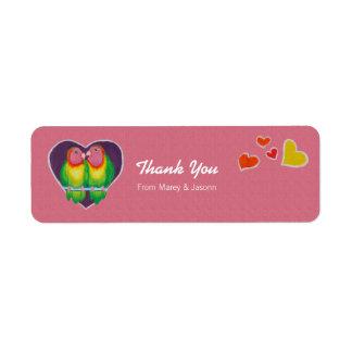 Love Birds Thank You Wedding Sticker Return Address Label