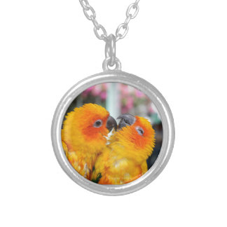 Love Birds Tickle Silver Plated Necklace