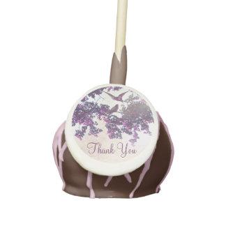 love birds tree purple cake pop - favors cake pops
