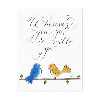 Love birds typography wherever you go canvas print