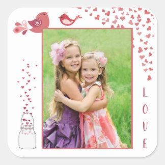 Love Birds Valentine's Day Heart Photo Sticker