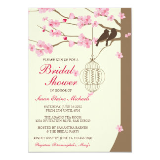 Love Birds Vintage Cage Blossom Bridal Shower Card