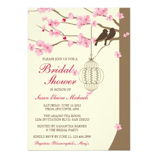 Love Birds Vintage Cage Blossom Bridal Shower Personalized Announcements