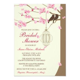 Love Birds Vintage Cage Blossom Bridal Shower 5x7 Paper Invitation Card