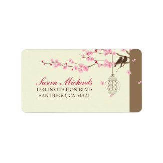Love Birds Vintage Cage Cherry Blossom Personalized Address Labels