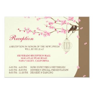 Love Birds Vintage Cage Cherry Blossom Reception Card
