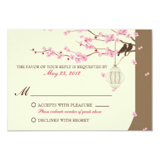 Love Birds Vintage Cage Cherry Blossom RSVP 3.5x5 Paper Invitation Card