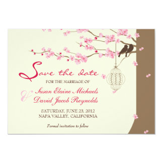 Love Birds Vintage Cage Cherry Blossom Save Date 5x7 Paper Invitation Card