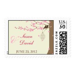 Love Birds Vintage Cage Cherry Blossom Stamp