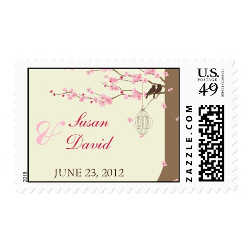 Love Birds Vintage Cage Cherry Blossom Stamp