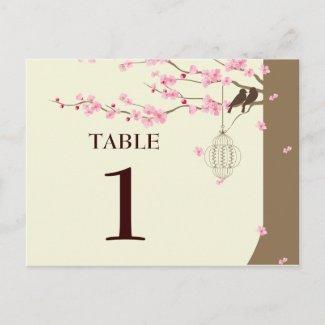 Love Birds Vintage Cage Cherry Blossom Table # Postcards