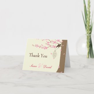 Love Birds Vintage Cage Cherry Blossom Thank You Greeting Cards
