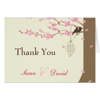 Love Birds Vintage Cage Cherry Blossom Thank You Card