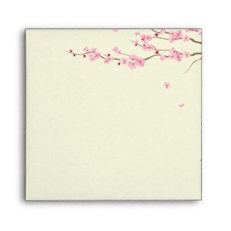 Love Birds Vintage Cage Cherry Blossom Wedding Envelope