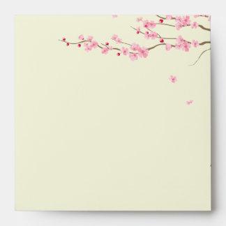 Love Birds Vintage Cage Cherry Blossom Wedding Envelopes