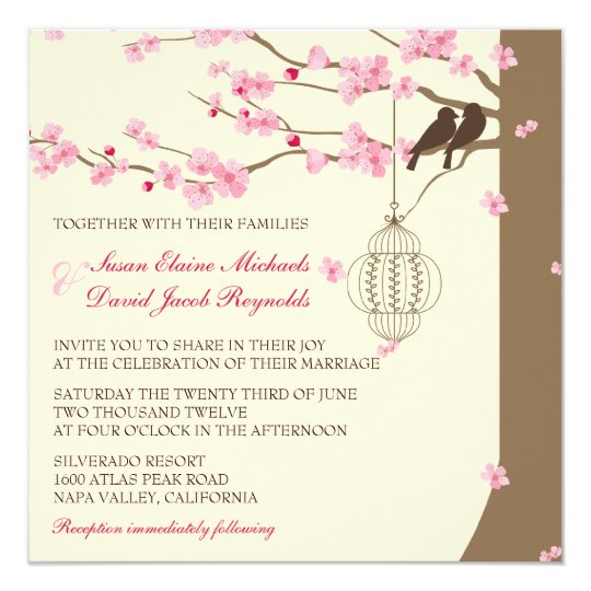Love Birds Vintage Cage Cherry Blossom Wedding Invitation