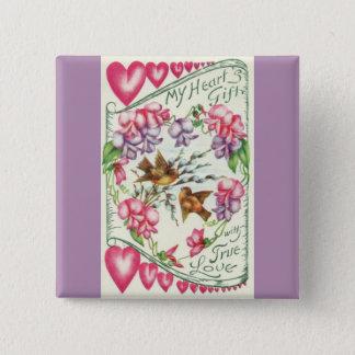 Love Birds Vintage Valentine's Day Pin Button