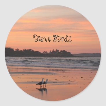 Beach Themed Love Birds Walk the Beach Classic Round Sticker