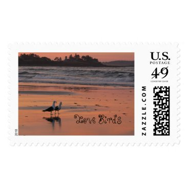 Beach Themed Love Birds Walk the Beach Postage