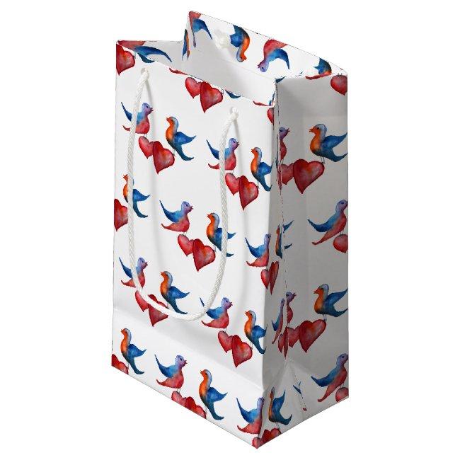 Love Birds, Watercolor Birds Gift Bag