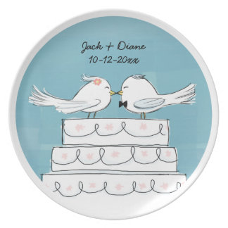 Love Birds Wedding Cake Bride & Groom Kiss Dinner Plate