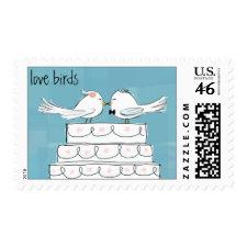 Love Birds - Wedding Cake Bride & Groom zazzle_stamp