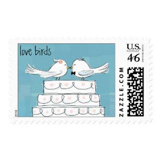 Love Birds - Wedding Cake Bride Groom Postage Stamp
