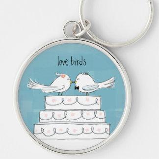 Love Birds Wedding Cake Kiss Keychain