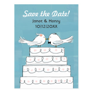 Love Birds Wedding Cake Kiss Save the Date Postcard