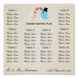 Love Birds Wedding Dinner Seating Plan Posters