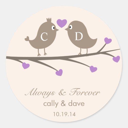 Love Birds Wedding Favor Stickers   Zazzle.com