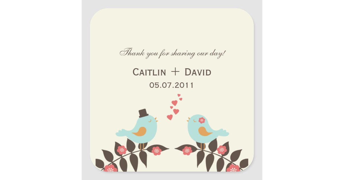 Vistaprint Wedding Gift Tags : Love Birds Wedding Favor Stickers/Envelope Seals Square Sticker ...