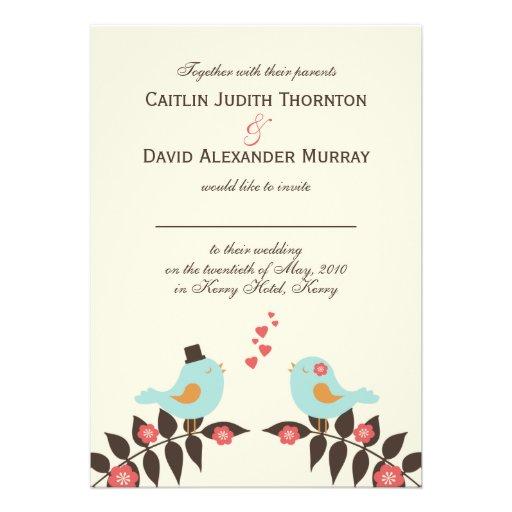 Love Birds Wedding Invitation Personalized Announcements