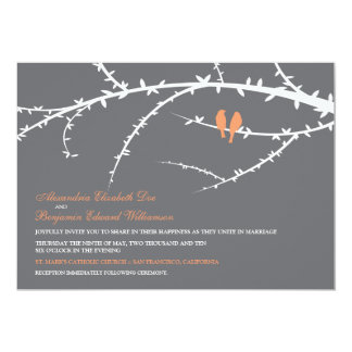 Love Birds Wedding Invitation (coral)