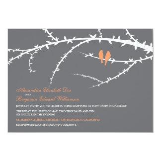 "Love Birds Wedding Invitation (coral) 5"" X 7"" Invitation Card"