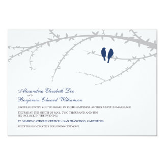 Love Birds Wedding Invitation Navy