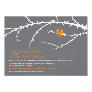 Love Birds Wedding Invitation (orange)