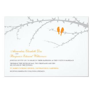 "Love Birds Wedding Invitation (orange) 5"" X 7"" Invitation Card"