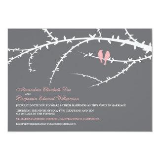 "Love Birds Wedding Invitation (pink) 5"" X 7"" Invitation Card"