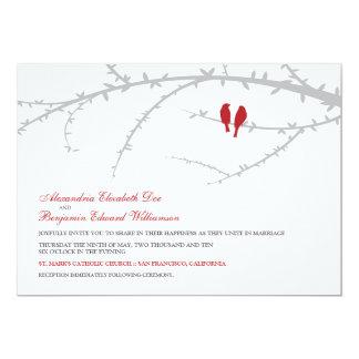 "Love Birds Wedding Invitation (red) 5"" X 7"" Invitation Card"