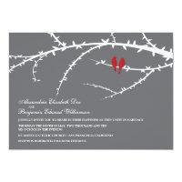 Love Birds Wedding Invitation (red)