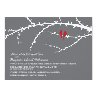 Love Birds Wedding Invitation (red)