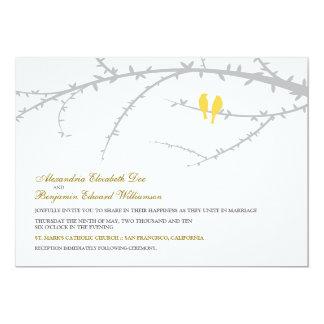 "Love Birds Wedding Invitation (yellow) 5"" X 7"" Invitation Card"